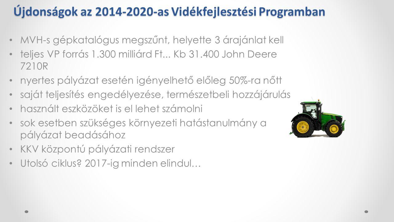 Újdonságok az 2014-2020-as Vidékfejlesztési Programban MVH-s gépkatalógus megszűnt, helyette 3 árajánlat kell teljes VP forrás 1.300 milliárd Ft...