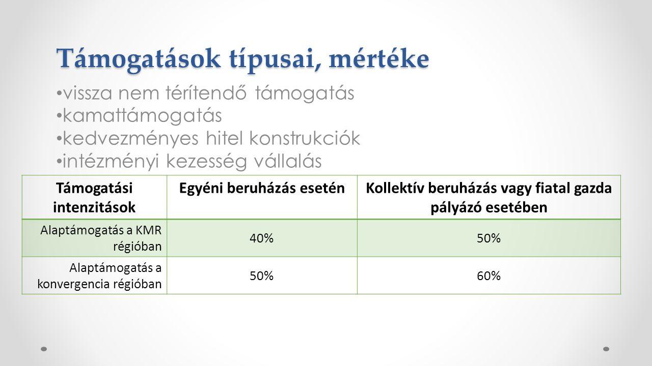 Kisméretű terménytároló és szárító fejlesztési támogatások Támogatási keret: 19,7 Mrd Ft Támogatás intenzitás: 50% (Pest megye: 40%) Max.