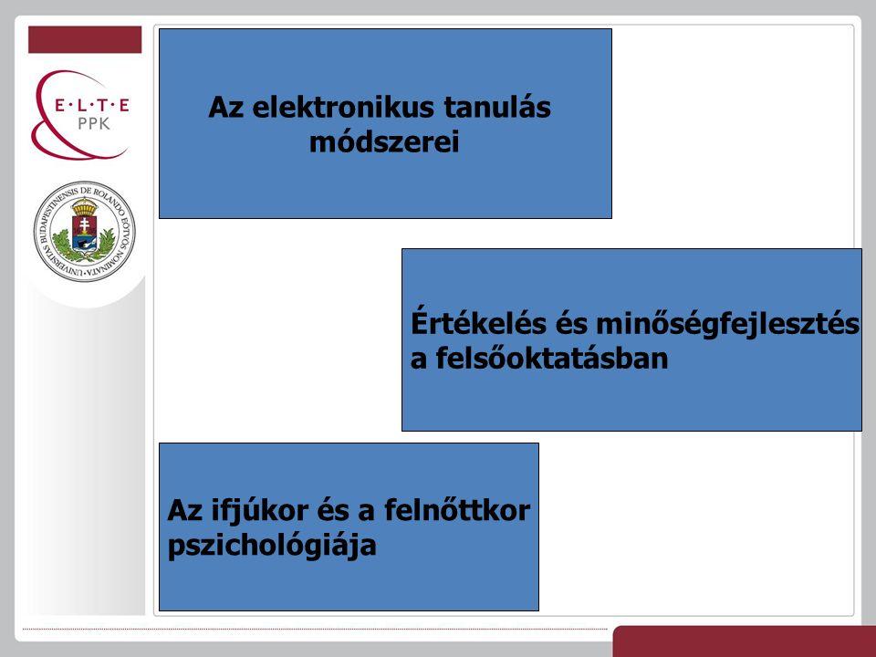 Az elektronikus tanulás módszerei Értékelés és minőségfejlesztés a felsőoktatásban Az ifjúkor és a felnőttkor pszichológiája