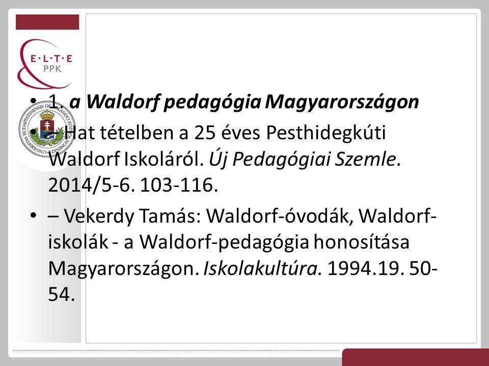 1. a Waldorf pedagógia Magyarországon – Hat tételben a 25 éves Pesthidegkúti Waldorf Iskoláról. Új Pedagógiai Szemle. 2014/5-6. 103-116. – Vekerdy Tam