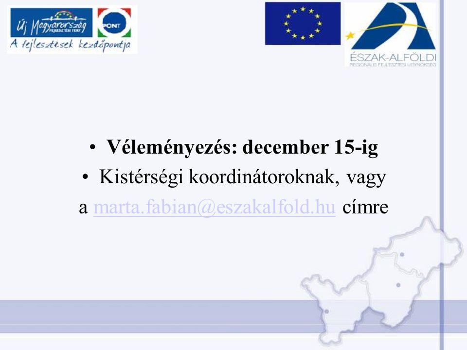 Véleményezés: december 15-ig Kistérségi koordinátoroknak, vagy a marta.fabian@eszakalfold.hu címremarta.fabian@eszakalfold.hu