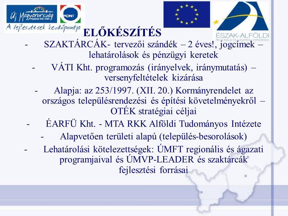 ELŐKÉSZÍTÉS -SZAKTÁRCÁK- tervezői szándék – 2 éves!, jogcímek – lehatárolások és pénzügyi keretek -VÁTI Kht.