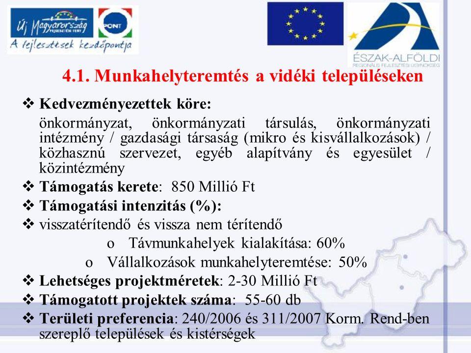 4.1. Munkahelyteremtés a vidéki településeken  Kedvezményezettek köre: önkormányzat, önkormányzati társulás, önkormányzati intézmény / gazdasági társ