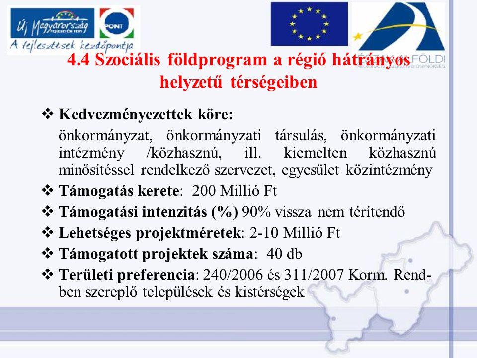 4.4 Szociális földprogram a régió hátrányos helyzetű térségeiben  Kedvezményezettek köre: önkormányzat, önkormányzati társulás, önkormányzati intézmény /közhasznú, ill.