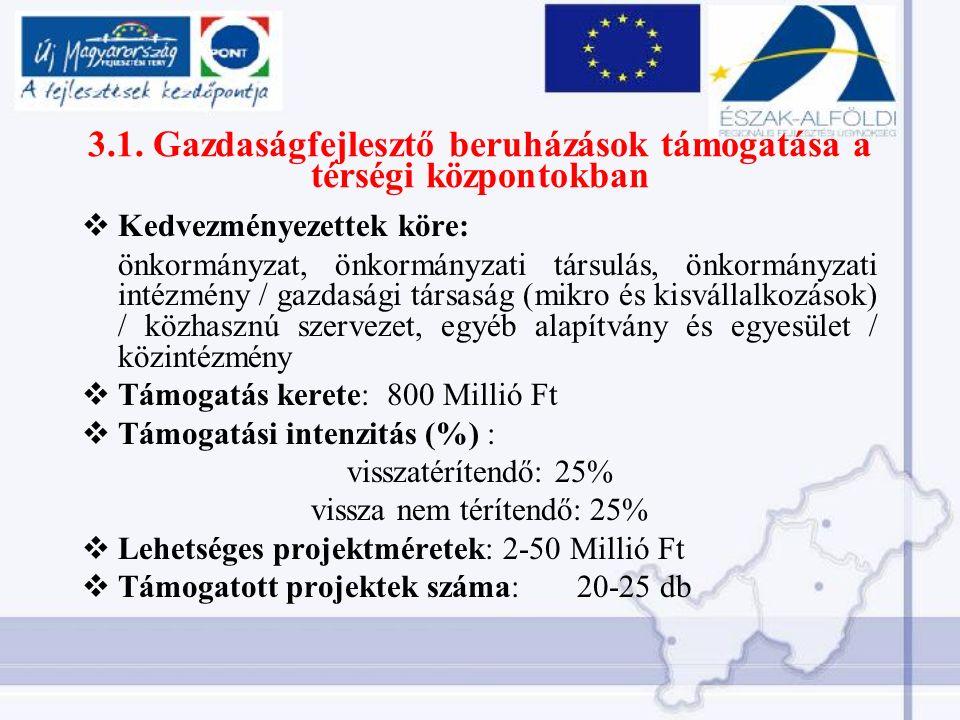 3.1. Gazdaságfejlesztő beruházások támogatása a térségi központokban  Kedvezményezettek köre: önkormányzat, önkormányzati társulás, önkormányzati int