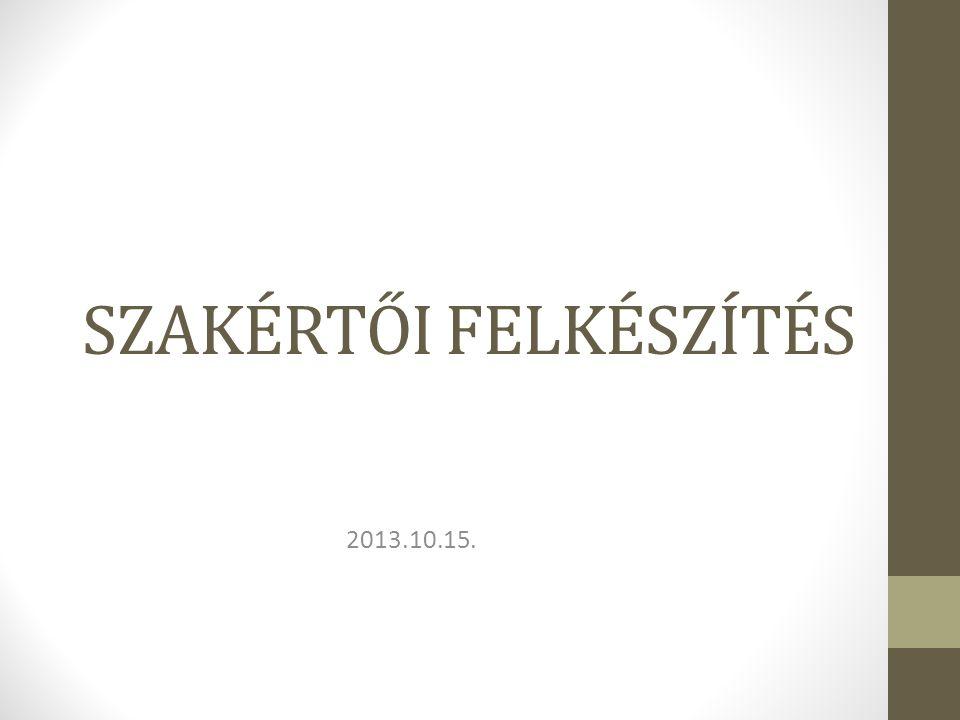 SZAKÉRTŐI FELKÉSZÍTÉS 2013.10.15.