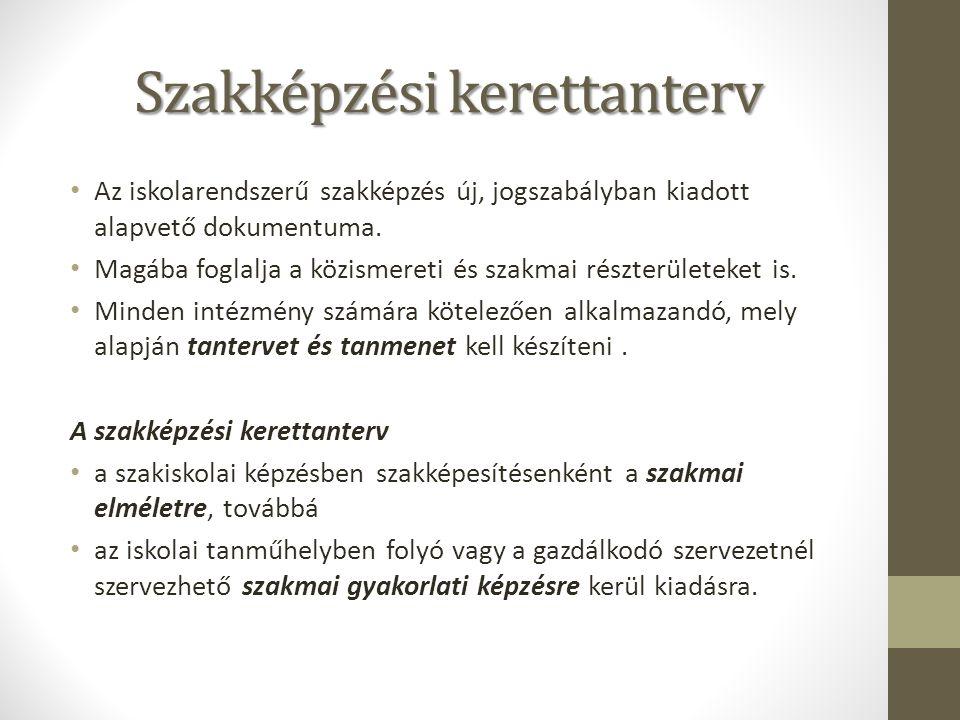 Szakképzési kerettanterv Az iskolarendszerű szakképzés új, jogszabályban kiadott alapvető dokumentuma.