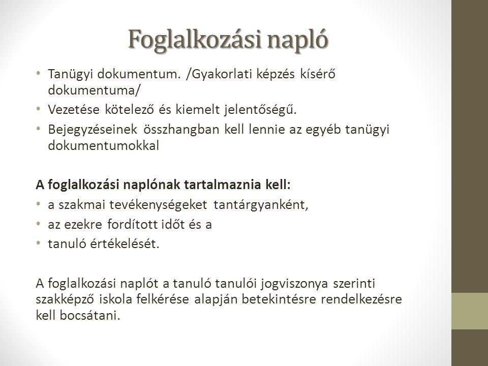 Foglalkozási napló Tanügyi dokumentum.