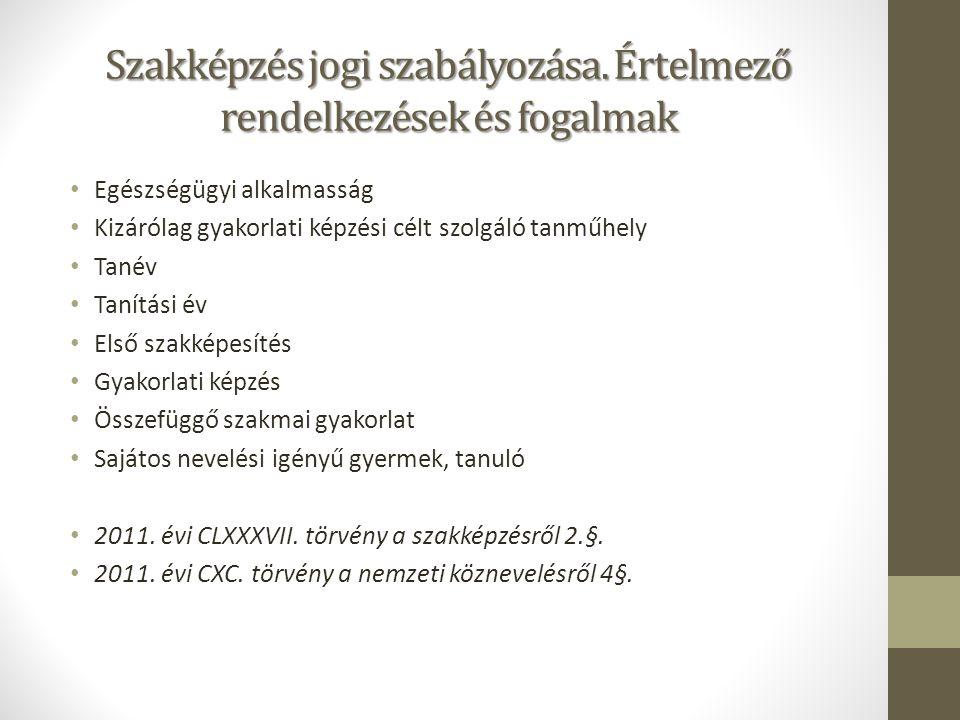 Szakképzés jogi szabályozása.