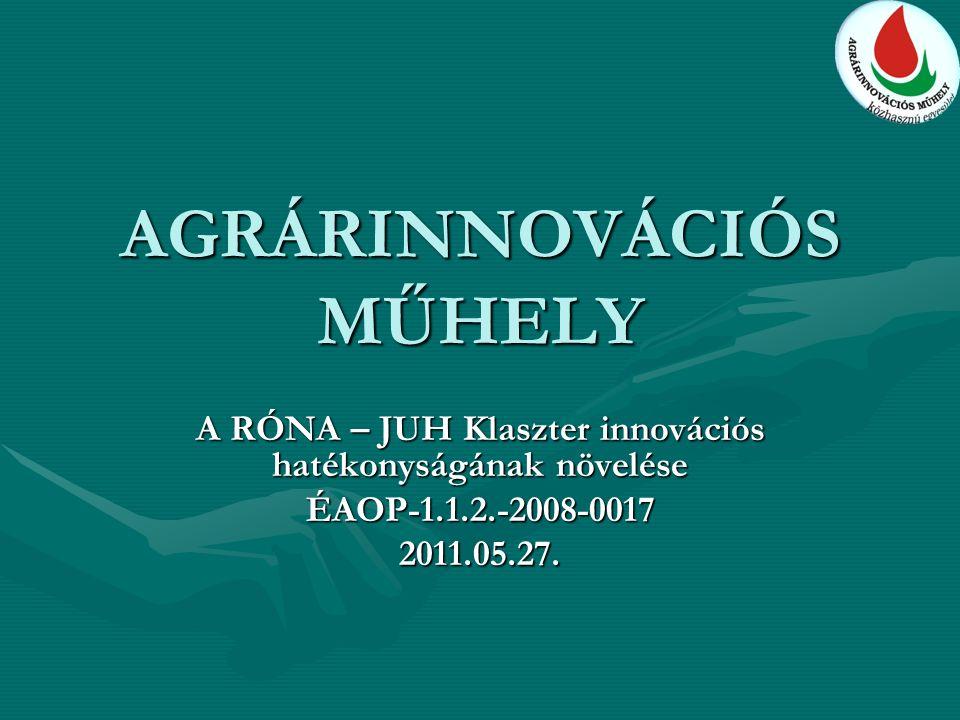 AGRÁRINNOVÁCIÓS MŰHELY A RÓNA – JUH Klaszter innovációs hatékonyságának növelése ÉAOP-1.1.2.-2008-00172011.05.27.