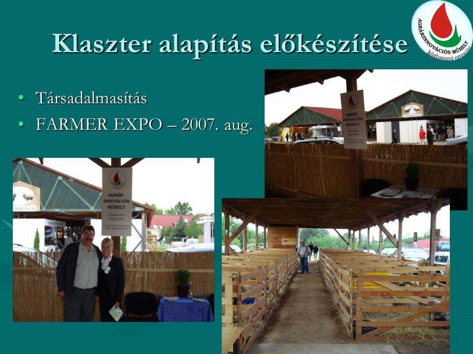 Klaszter alapítás előkészítése TársadalmasításTársadalmasítás FARMER EXPO – 2007.