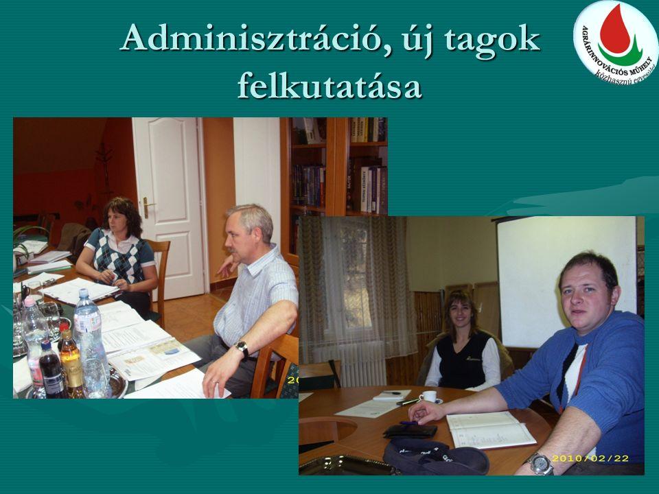 Adminisztráció, új tagok felkutatása