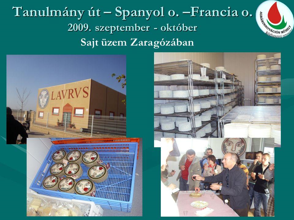 Tanulmány út – Spanyol o. –Francia o. 2009. szeptember - október Sajt üzem Zaragózában