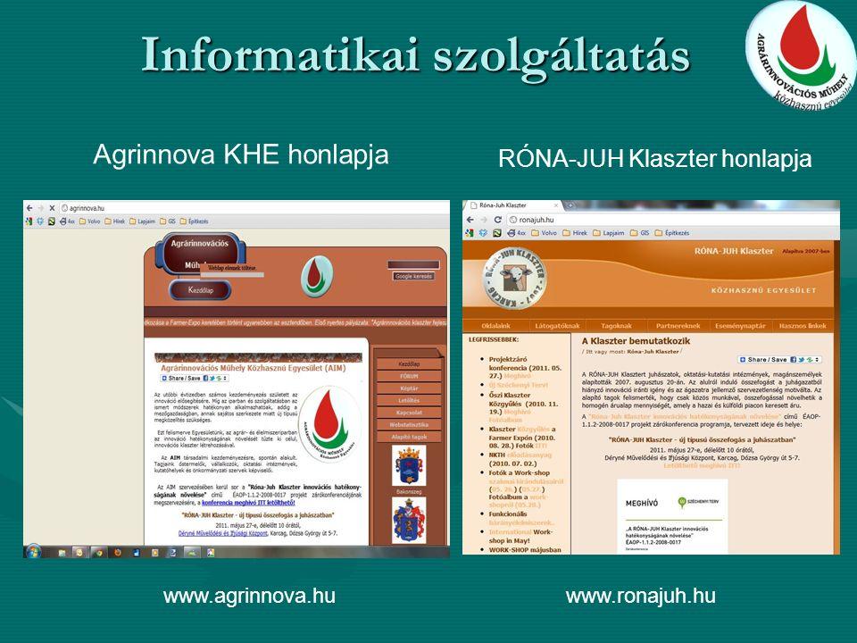 Informatikai szolgáltatás Agrinnova KHE honlapja RÓNA-JUH Klaszter honlapja www.agrinnova.huwww.ronajuh.hu