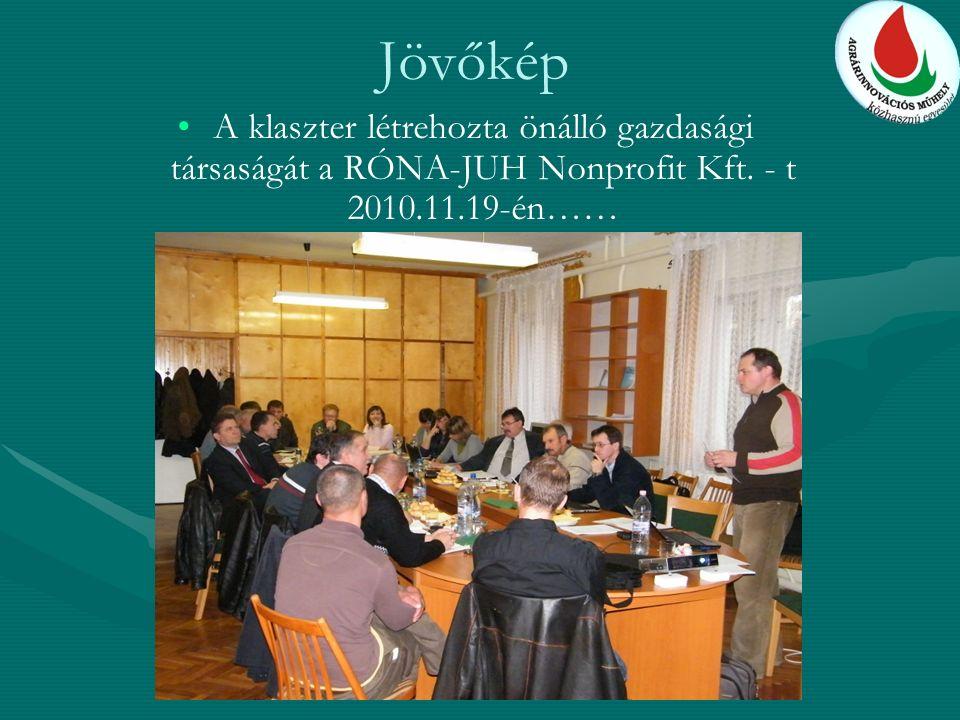 Jövőkép A klaszter létrehozta önálló gazdasági társaságát a RÓNA-JUH Nonprofit Kft.