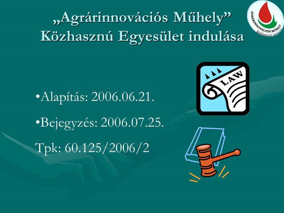 """""""Agrárinnovációs Műhely Közhasznú Egyesület indulása Alapítás: 2006.06.21."""