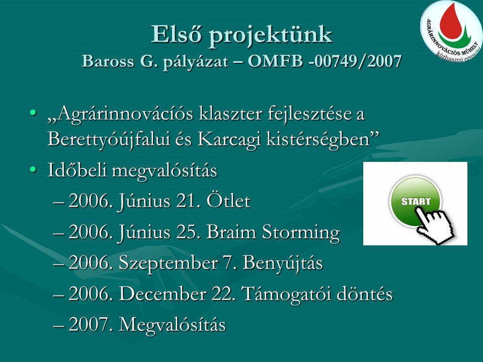 """Első projektünk Baross G. pályázat – OMFB -00749/2007 """"Agrárinnovácíós klaszter fejlesztése a Berettyóújfalui és Karcagi kistérségben""""""""Agrárinnovácíós"""