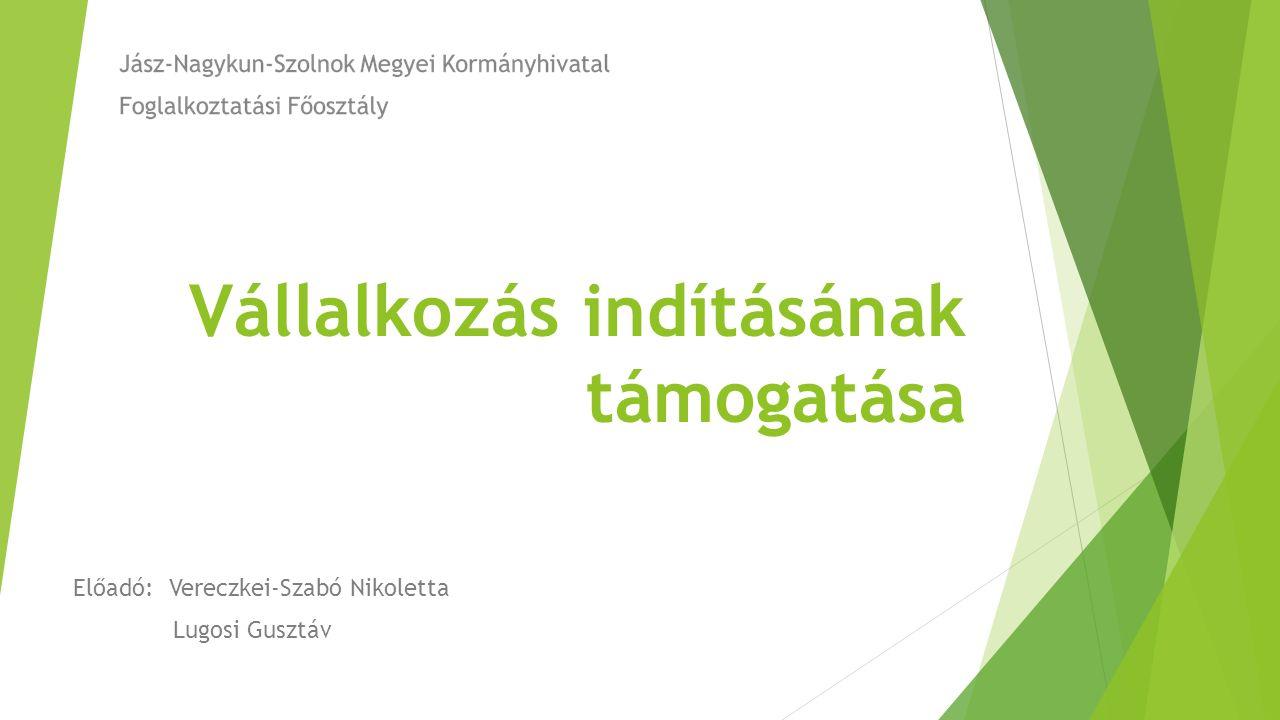Vállalkozás indításának támogatása Előadó:Vereczkei-Szabó Nikoletta Lugosi Gusztáv