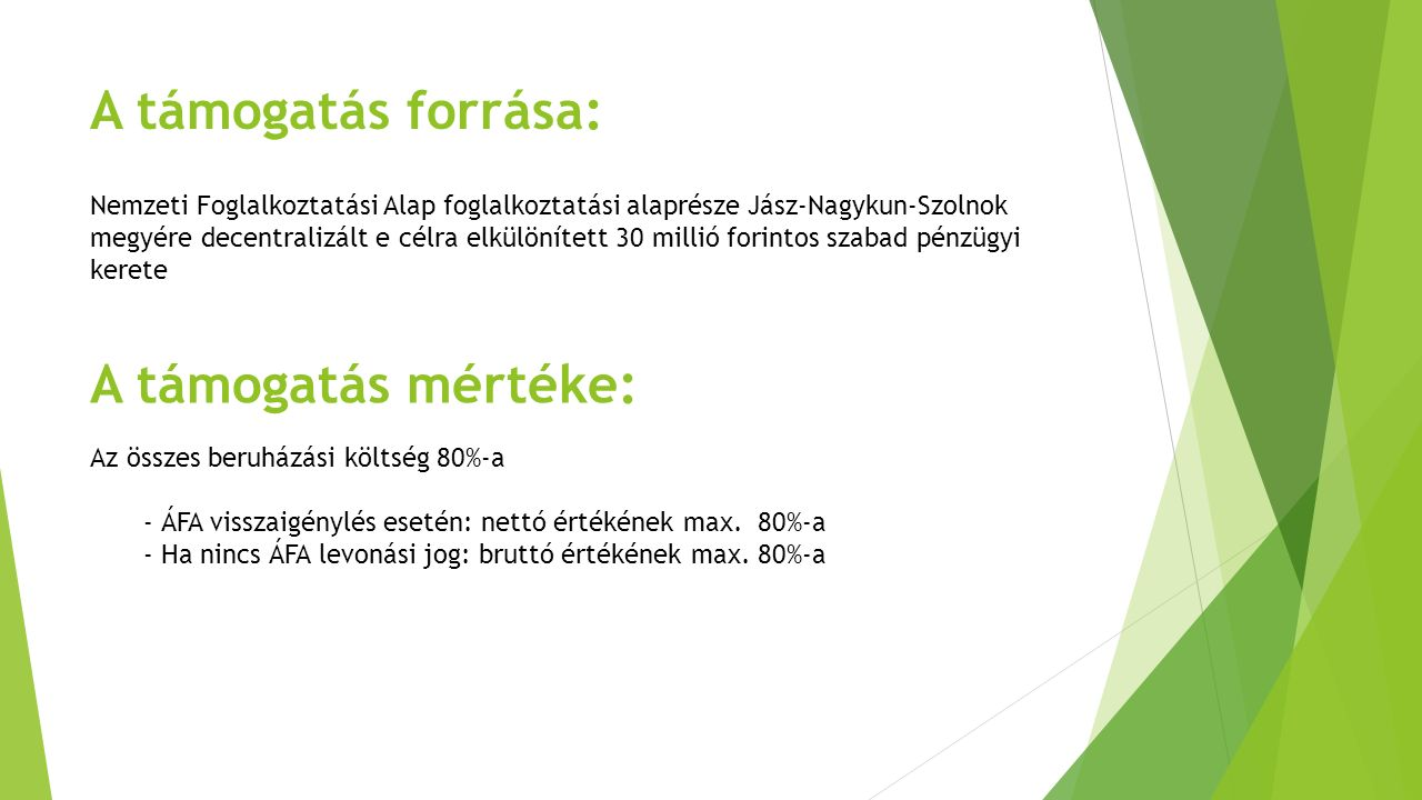 A támogatás forrása: Nemzeti Foglalkoztatási Alap foglalkoztatási alaprésze Jász-Nagykun-Szolnok megyére decentralizált e célra elkülönített 30 millió
