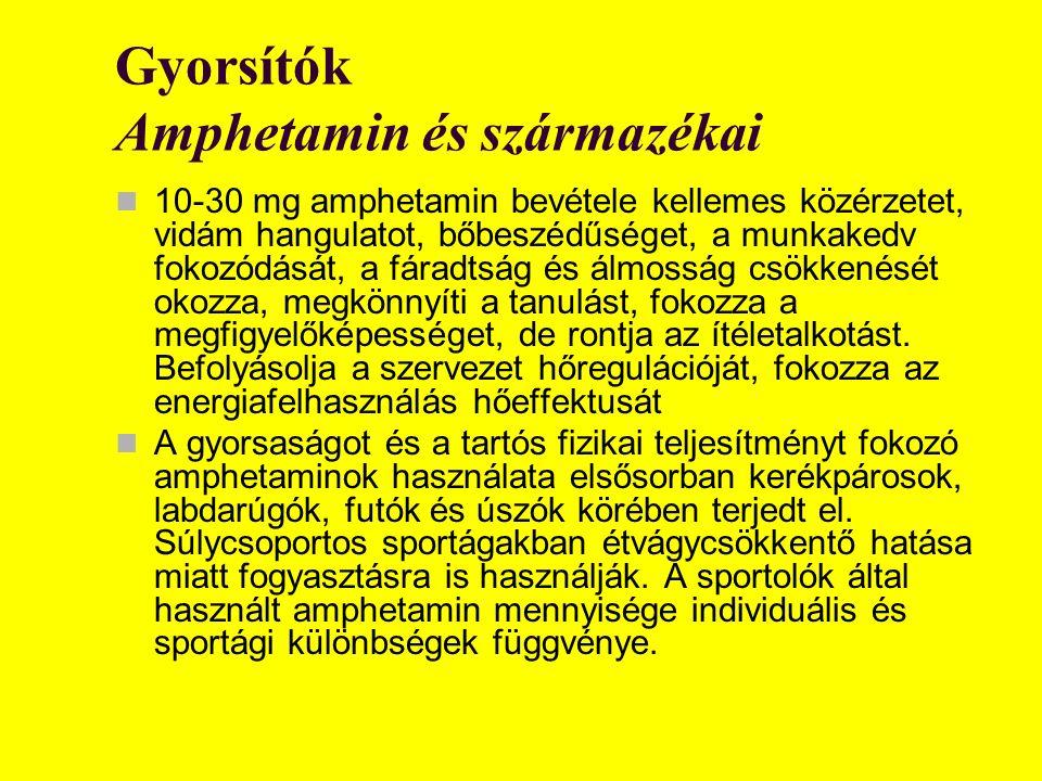Gyorsítók Amphetamin és származékai 10-30 mg amphetamin bevétele kellemes közérzetet, vidám hangulatot, bőbeszédűséget, a munkakedv fokozódását, a fár