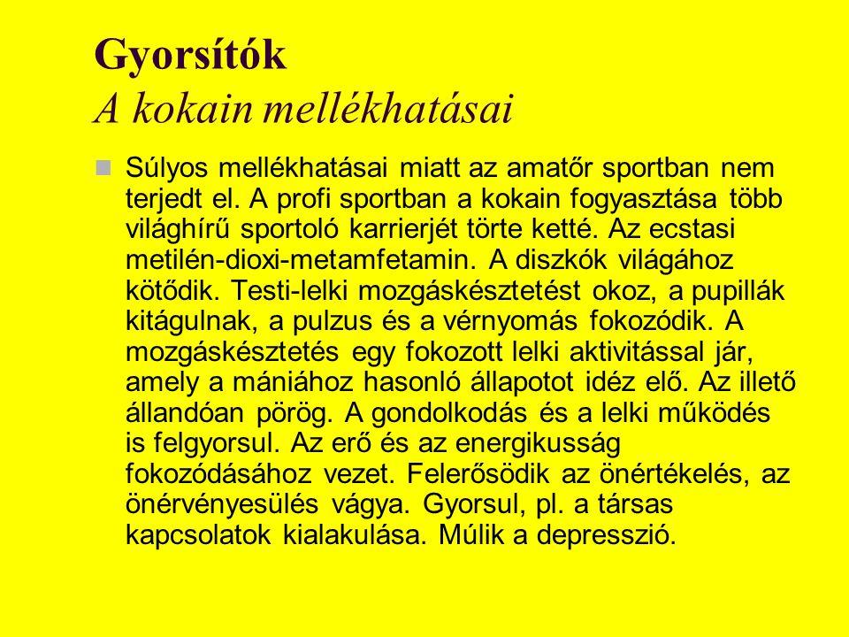 Gyorsítók A kokain mellékhatásai Súlyos mellékhatásai miatt az amatőr sportban nem terjedt el.