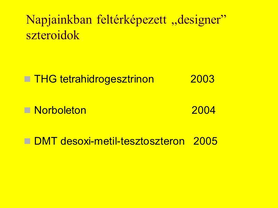 """Napjainkban feltérképezett """"designer"""" szteroidok THG tetrahidrogesztrinon2003 Norboleton 2004 DMT desoxi-metil-tesztoszteron 2005"""