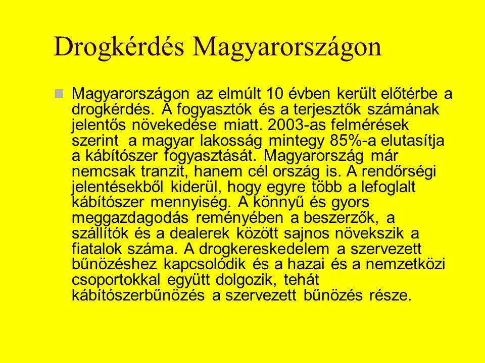 Drogkérdés Magyarországon Magyarországon az elmúlt 10 évben került előtérbe a drogkérdés. A fogyasztók és a terjesztők számának jelentős növekedése mi