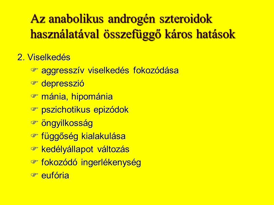Az anabolikus androgén szteroidok használatával összefüggő káros hatások 2.