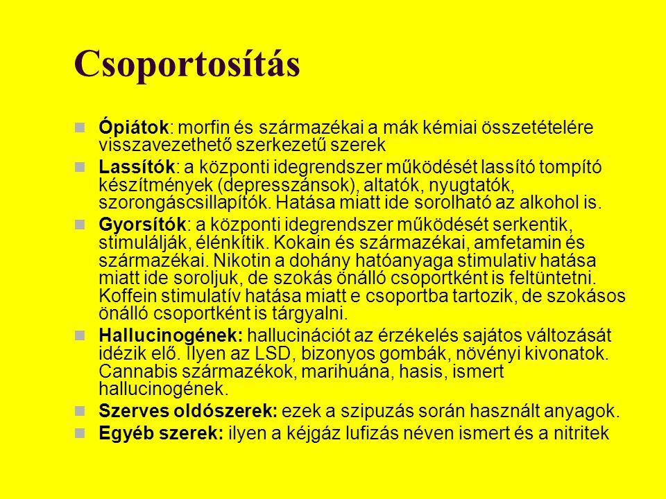 Csoportosítás Ópiátok: morfin és származékai a mák kémiai összetételére visszavezethető szerkezetű szerek Lassítók: a központi idegrendszer működését lassító tompító készítmények (depresszánsok), altatók, nyugtatók, szorongáscsillapítók.