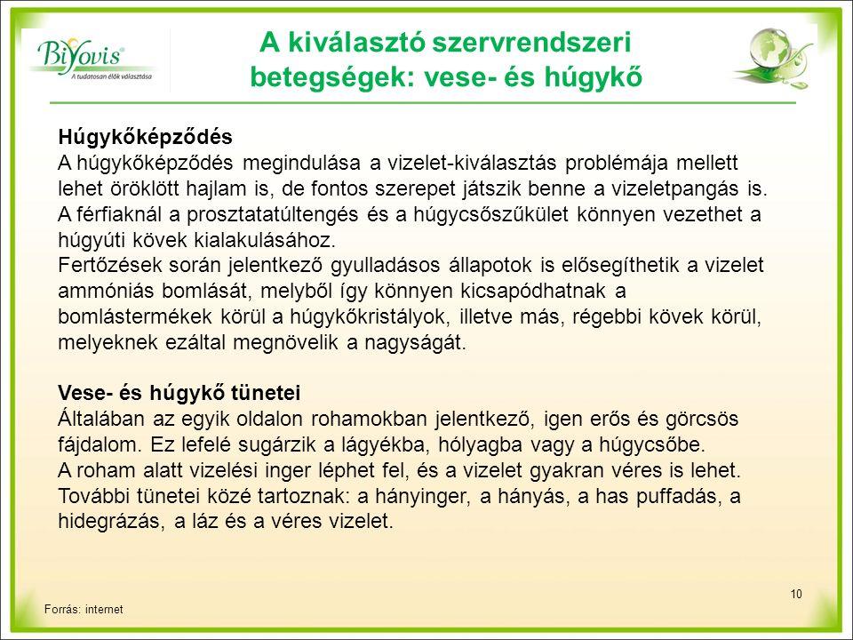 10 A kiválasztó szervrendszeri betegségek: vese- és húgykő Húgykőképződés A húgykőképződés megindulása a vizelet-kiválasztás problémája mellett lehet öröklött hajlam is, de fontos szerepet játszik benne a vizeletpangás is.