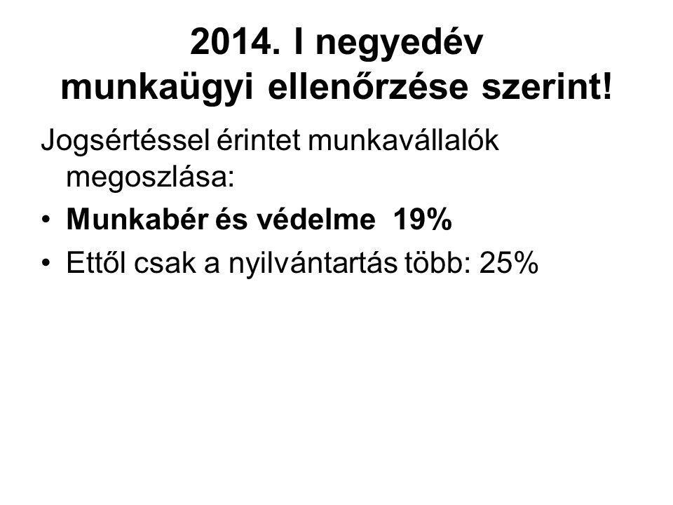2014. I negyedév munkaügyi ellenőrzése szerint! Jogsértéssel érintet munkavállalók megoszlása: Munkabér és védelme 19% Ettől csak a nyilvántartás több