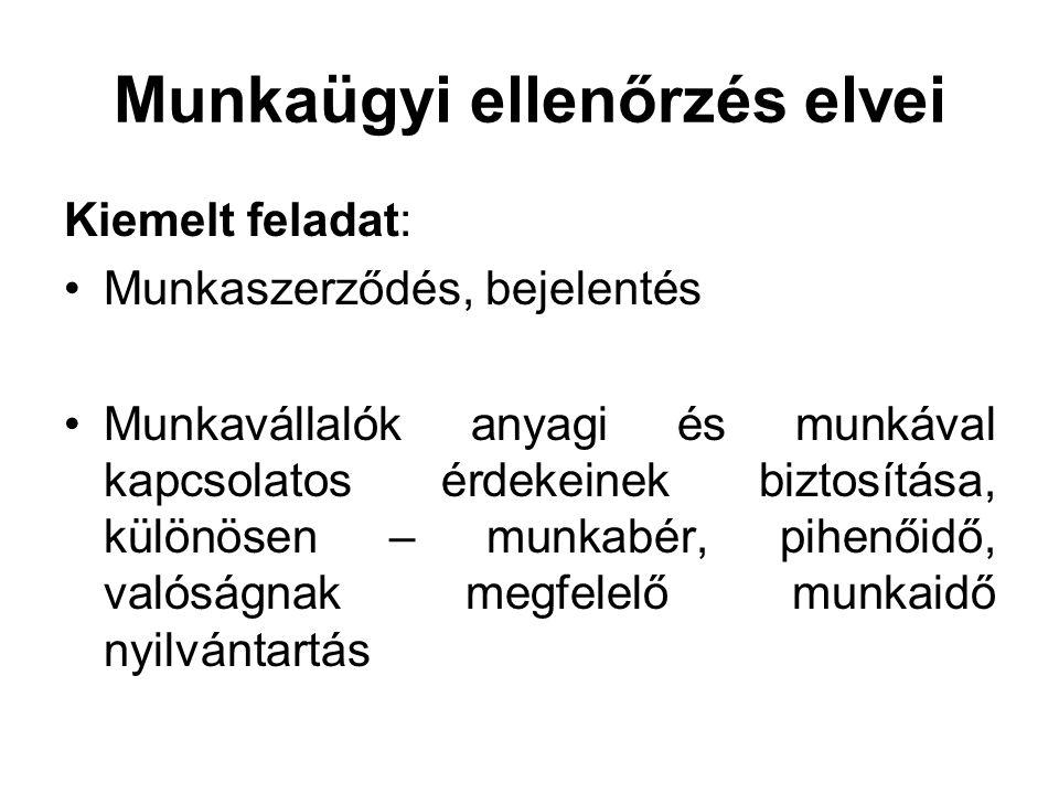 Munkaügyi ellenőrzés elvei Kiemelt feladat: Munkaszerződés, bejelentés Munkavállalók anyagi és munkával kapcsolatos érdekeinek biztosítása, különösen