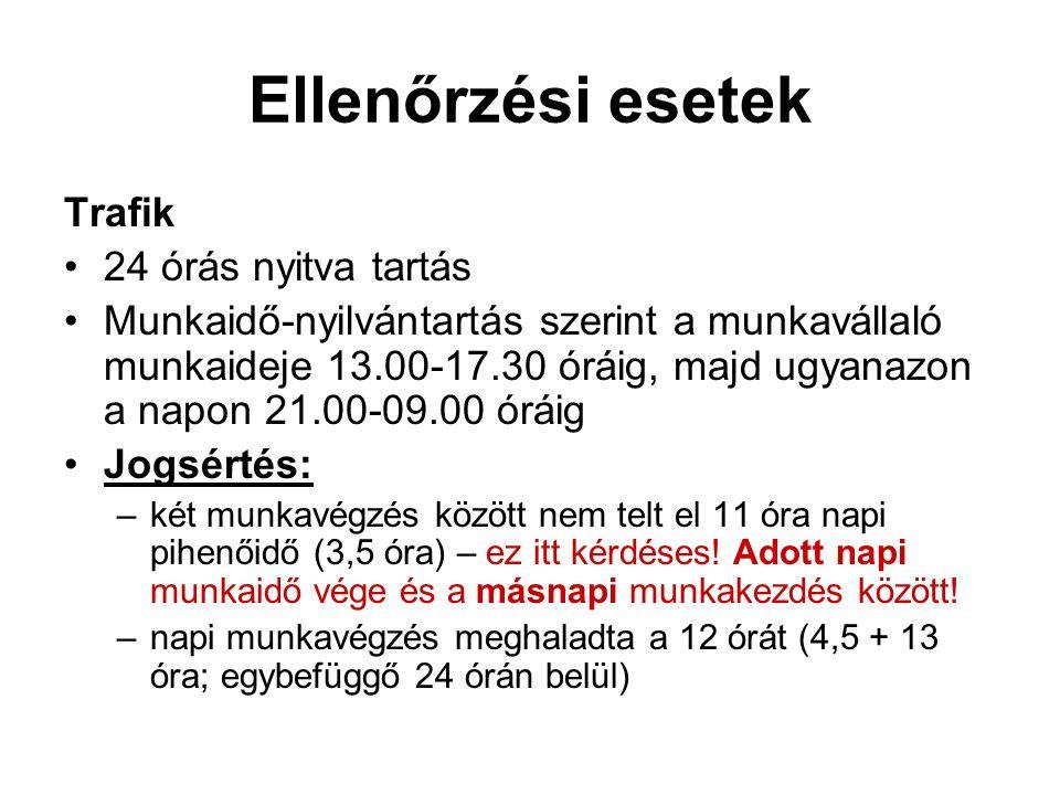 Ellenőrzési esetek Trafik 24 órás nyitva tartás Munkaidő-nyilvántartás szerint a munkavállaló munkaideje 13.00-17.30 óráig, majd ugyanazon a napon 21.