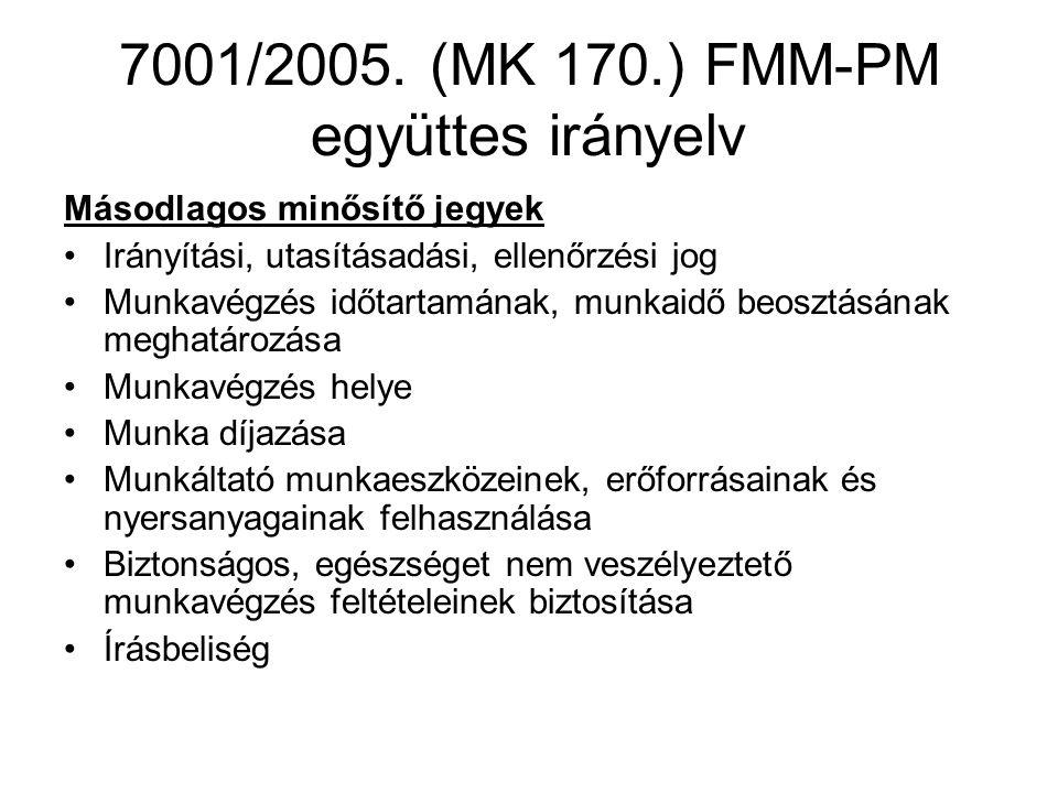 7001/2005. (MK 170.) FMM-PM együttes irányelv Másodlagos minősítő jegyek Irányítási, utasításadási, ellenőrzési jog Munkavégzés időtartamának, munkaid