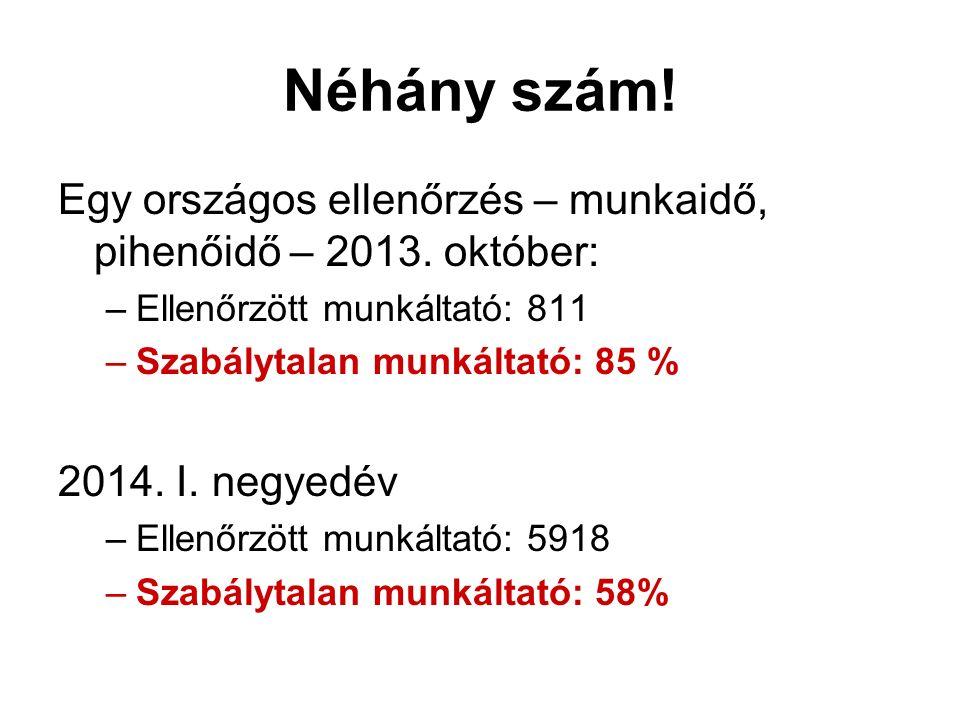 Néhány szám! Egy országos ellenőrzés – munkaidő, pihenőidő – 2013. október: –Ellenőrzött munkáltató: 811 –Szabálytalan munkáltató: 85 % 2014. I. negye