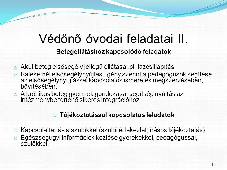 Védőnő óvodai feladatai II.