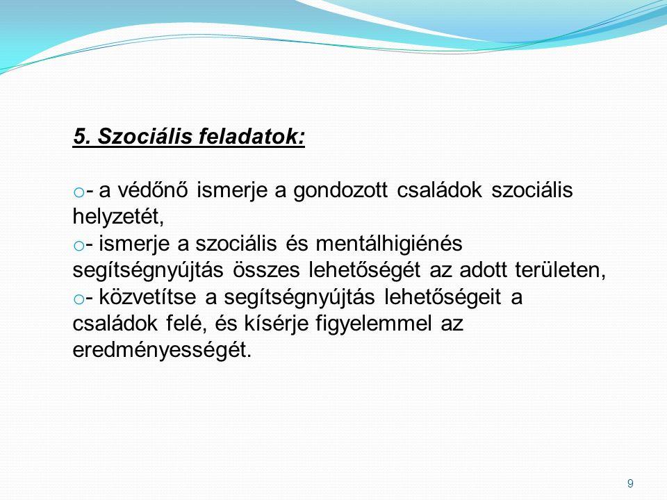 9 5. Szociális feladatok: o - a védőnő ismerje a gondozott családok szociális helyzetét, o - ismerje a szociális és mentálhigiénés segítségnyújtás öss