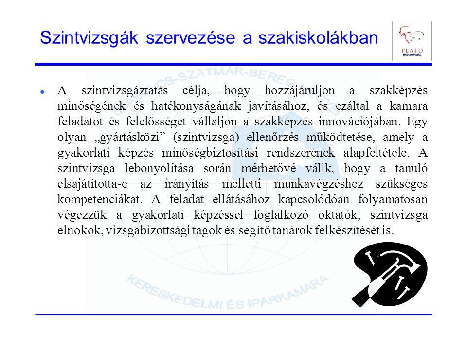 Szintvizsgák szervezése a szakiskolákban A szintvizsgáztatás célja, hogy hozzájáruljon a szakképzés minőségének és hatékonyságának javításához, és ezá
