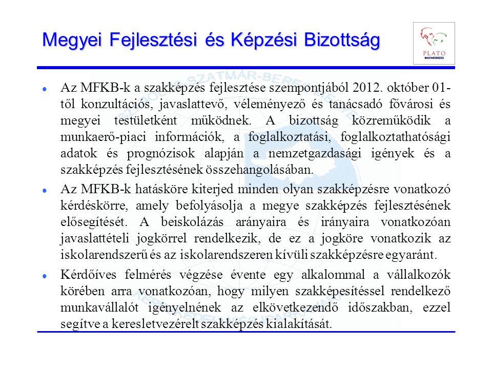 Megyei Fejlesztési és Képzési Bizottság Az MFKB-k a szakképzés fejlesztése szempontjából 2012. október 01- től konzultációs, javaslattevő, véleményező