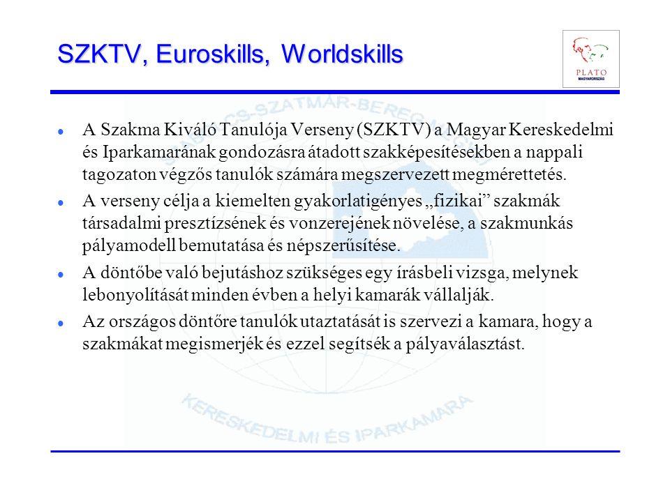 SZKTV, Euroskills, Worldskills A Szakma Kiváló Tanulója Verseny (SZKTV) a Magyar Kereskedelmi és Iparkamarának gondozásra átadott szakképesítésekben a