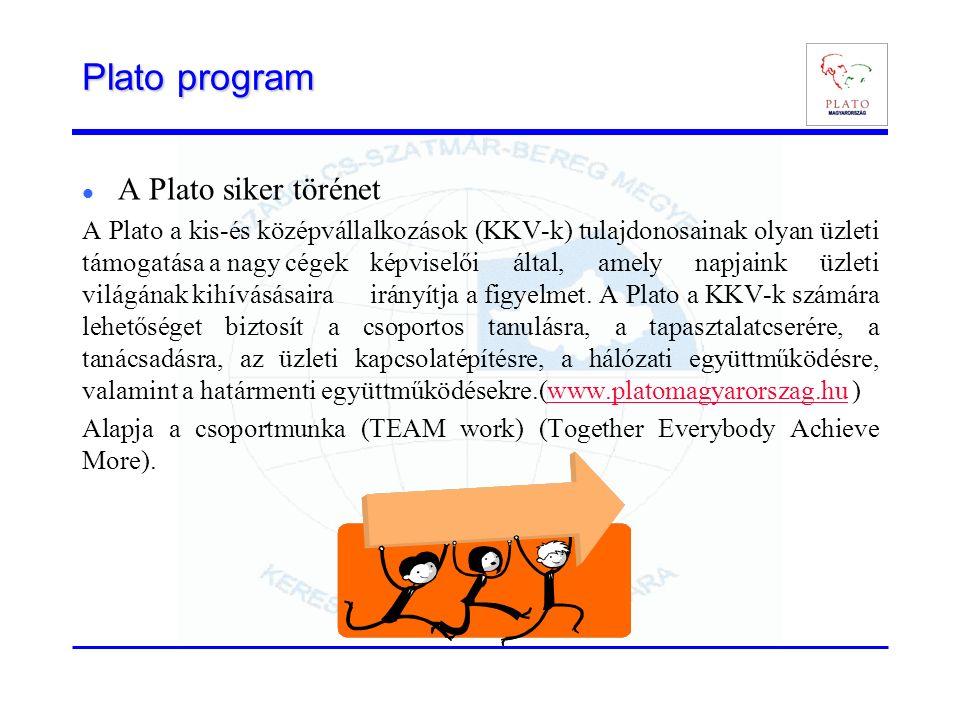 Plato program A Plato siker törénet A Plato a kis-és középvállalkozások (KKV-k) tulajdonosainak olyan üzleti támogatása a nagy cégek képviselői által, amely napjaink üzleti világának kihívásásaira irányítja a figyelmet.