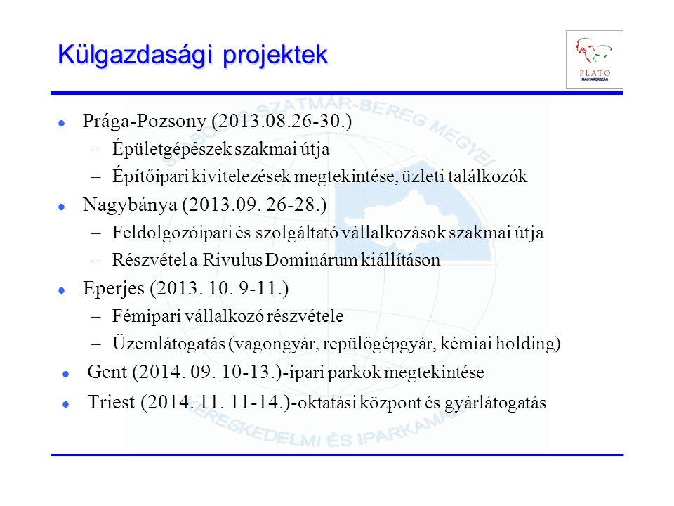 Külgazdasági projektek Prága-Pozsony (2013.08.26-30.) –Épületgépészek szakmai útja –Építőipari kivitelezések megtekintése, üzleti találkozók Nagybánya (2013.09.