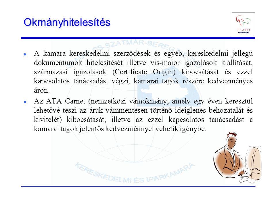 Okmányhitelesítés A kamara kereskedelmi szerződések és egyéb, kereskedelmi jellegű dokumentumok hitelesítését illetve vis-maior igazolások kiállítását, származási igazolások (Certificate Origin) kibocsátását és ezzel kapcsolatos tanácsadást végzi, kamarai tagok részére kedvezményes áron.