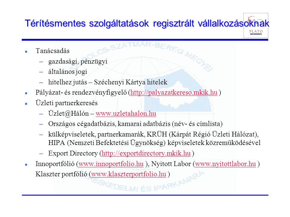 Térítésmentes szolgáltatások regisztrált vállalkozásoknak Tanácsadás –gazdasági, pénzügyi –általános jogi –hitelhez jutás – Széchenyi Kártya hitelek Pályázat- és rendezvényfigyelő (http://palyazatkereso.mkik.hu )http://palyazatkereso.mkik.hu Üzleti partnerkeresés –Üzlet@Hálón – www.uzletahalon.huwww.uzletahalon.hu –Országos cégadatbázis, kamarai adatbázis (név- és címlista) –külképviseletek, partnerkamarák, KRÜH (Kárpát Régió Üzleti Hálózat), HIPA (Nemzeti Befektetési Ügynökség) képviseletek közreműködésével –Export Directory (http://exportdirectory.mkik.hu )http://exportdirectory.mkik.hu Innoportfólió (www.innoportfolio.hu ), Nyitott Labor (www.nyitottlabor.hu )www.innoportfolio.huwww.nyitottlabor.hu Klaszter portfólió (www.klaszterportfolio.hu )www.klaszterportfolio.hu