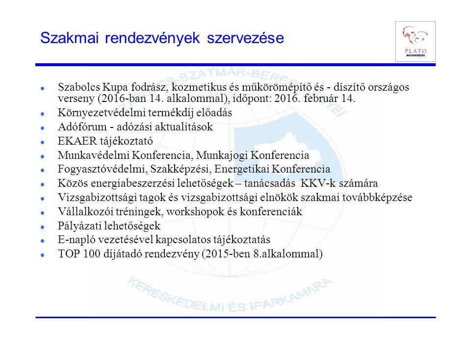 Szakmai rendezvények szervezése Szabolcs Kupa fodrász, kozmetikus és műkörömépítő és - díszítő országos verseny (2016-ban 14. alkalommal), időpont: 20