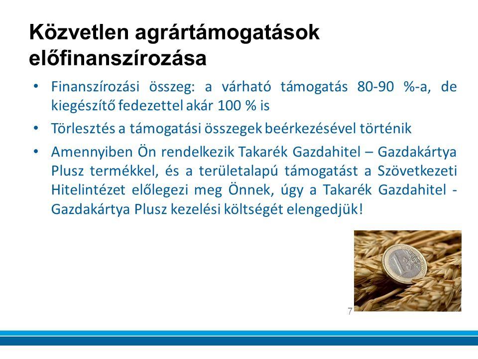 Finanszírozási összeg: a várható támogatás 80-90 %-a, de kiegészítő fedezettel akár 100 % is Törlesztés a támogatási összegek beérkezésével történik Amennyiben Ön rendelkezik Takarék Gazdahitel – Gazdakártya Plusz termékkel, és a területalapú támogatást a Szövetkezeti Hitelintézet előlegezi meg Önnek, úgy a Takarék Gazdahitel - Gazdakártya Plusz kezelési költségét elengedjük.