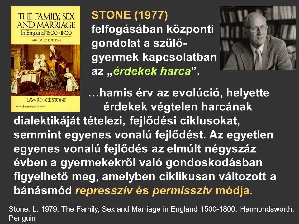"""STONE (1977) felfogásában központi gondolat a szülő- gyermek kapcsolatban az """"érdekek harca ."""