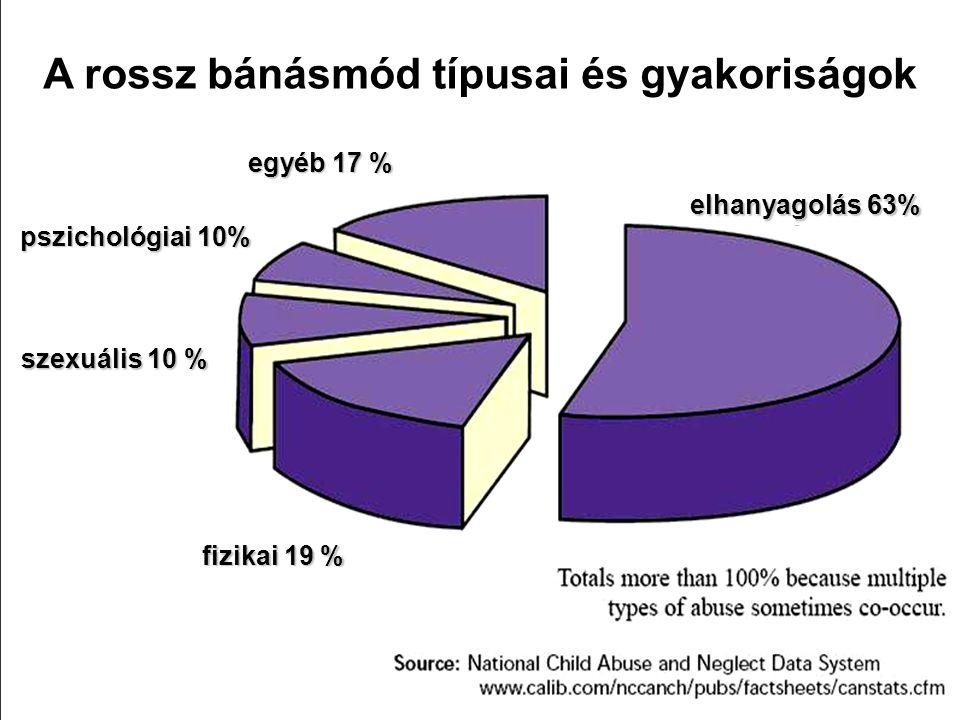 elhanyagolás 63% A rossz bánásmód típusai és gyakoriságok egyéb 17 % pszichológiai 10% szexuális 10 % fizikai 19 %
