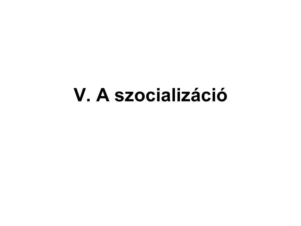 """A szocializáció fogalma """"az embert érő hatások, az ezekre való reakciók, visszahatások egész folyamata, amelynek során az egyén megszerzi azt a tudást, azokat a gyakorlati ismerteket és készségeket, amelyek alkalmassá teszik arra, hogy többé- kevésbé hatékonyan vegyen részt az egész társadalom, illetve az egyes csoportok életében. (David Goshlin)"""