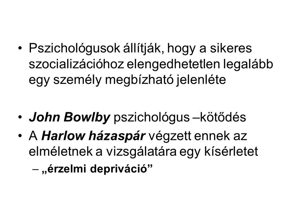 """Pszichológusok állítják, hogy a sikeres szocializációhoz elengedhetetlen legalább egy személy megbízható jelenléte John Bowlby pszichológus –kötődés A Harlow házaspár végzett ennek az elméletnek a vizsgálatára egy kísérletet –""""érzelmi depriváció"""